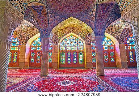 Shiraz, Iran - October 12, 2017: Interior Of Winter Prayer Hall Of Nasir Ol-molk Mosque With Beautif