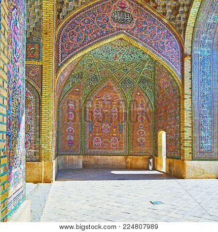 Shiraz, Iran - October 12, 2017: Nasir Ol-molk Mosque Boasts Amazing Interiors With Rich Tiled Decor