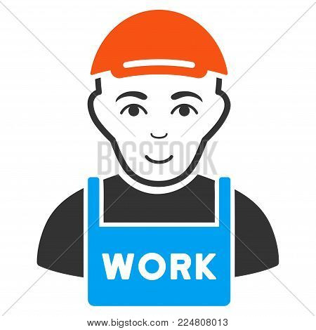 Jobless vector flat pictogram. Person face has glad sentiment. A boy in a cap.