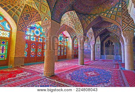 Shiraz, Iran - October 12, 2017: The Winter Prayer Hall Of Nasir Ol-molk Mosque, One Of The Most Pop