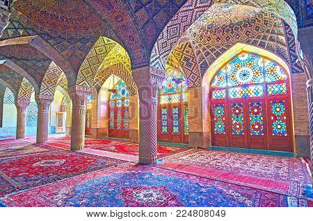 Shiraz, Iran - October 12, 2017: The Prayer Hall Of Nasir Ol-molk Mosque Is The Best Place To Enjoy