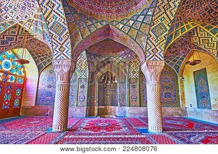Shiraz, Iran - October 12, 2017: The Masterpiece Decoration Of Interior Of Nasir Ol-molk Mosque - Th