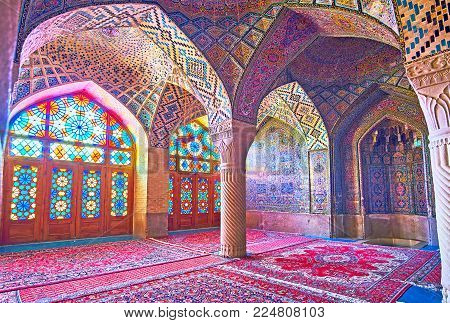 Shiraz, Iran - October 12, 2017: The Pink Mosque (nasir Ol-molk) Is The Unique Place In City, Its Ar