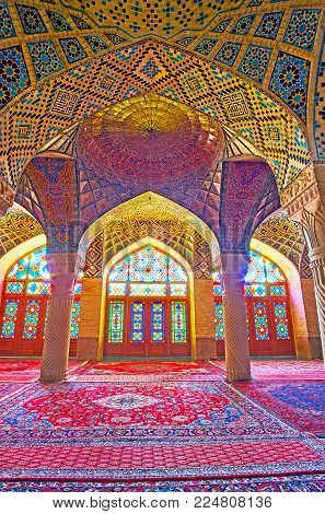 Shiraz, Iran - October 12, 2017: The  Pink Mosque (nasir Ol-molk) Is The Architectural Masterpiece O