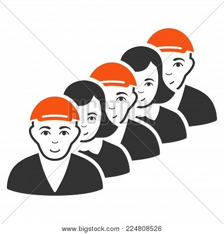 People Queue vector flat pictograph. Human face has smiling emotions. A male person with a cap.