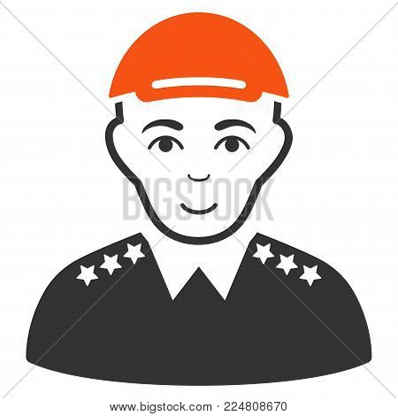 Army Officer vector flat pictograph. Human face has glad expression. A dude dressed with a cap.