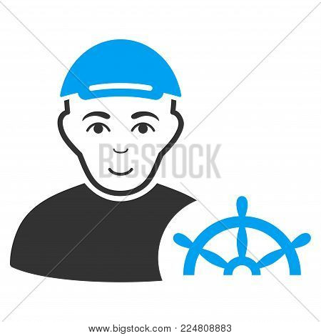 Captain vector flat pictogram. Human face has smiling sentiment. A boy dressed with a cap.