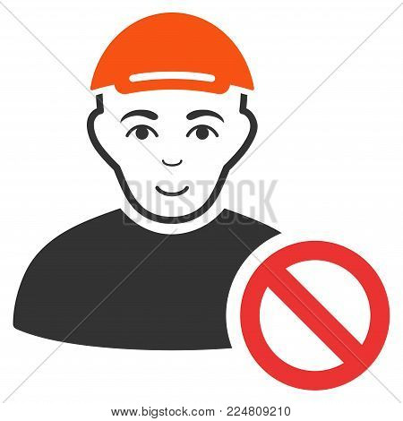Forbidden Man vector flat pictograph. Human face has cheerful sentiment. A person in a cap.