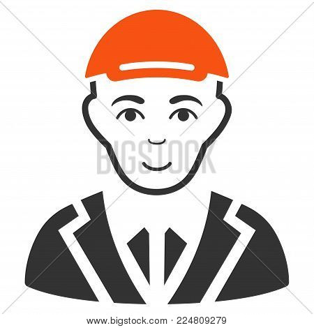 Gentleman vector flat pictograph. Human face has smiling mood. A male person dressed with a cap.