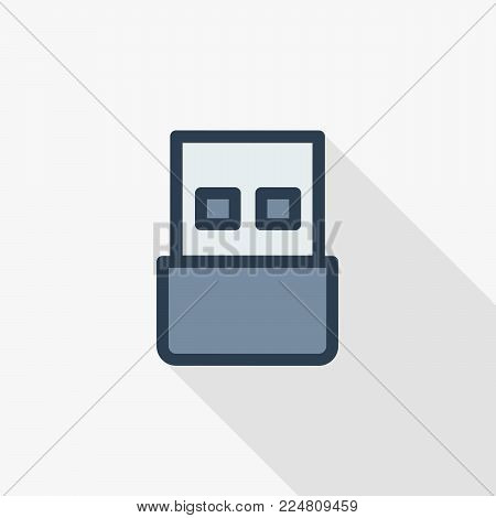 USB flash drive thin line flat color icon. Linear vector illustration. Pictogram isolated on white background. Colorful long shadow design.