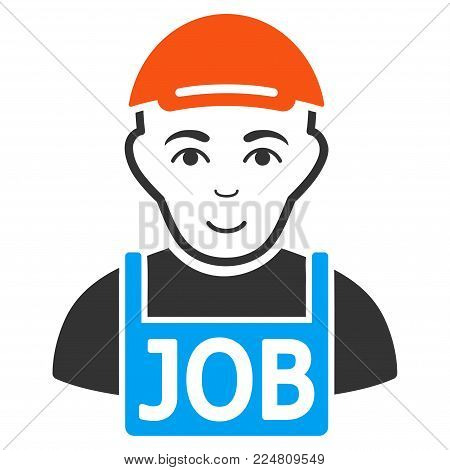 Jobless vector flat pictogram. Person face has joy feeling. A dude dressed with a cap.