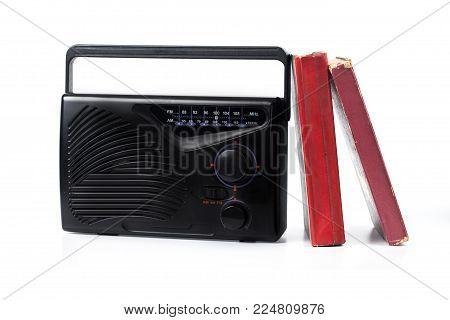 old transistor radio on white background isolate