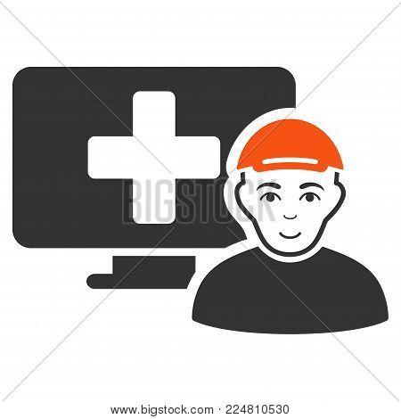 Online Patient vector flat pictograph. Person face has joyful sentiment. A boy in a cap.