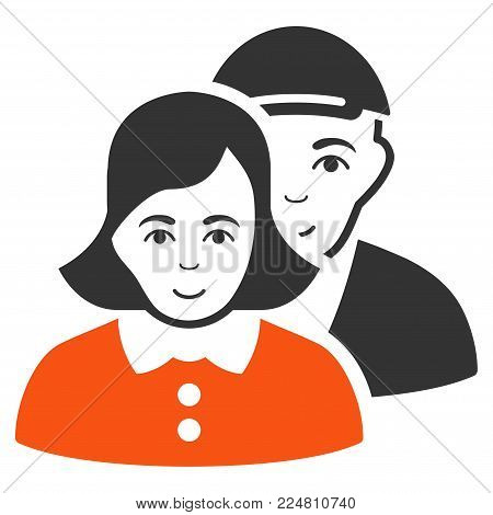 People Couple vector flat pictograph. Human face has enjoy mood. A boy with a cap.