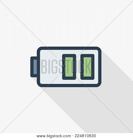 low battery, charge thin line flat color icon. Linear vector illustration. Pictogram isolated on white background. Colorful long shadow design.