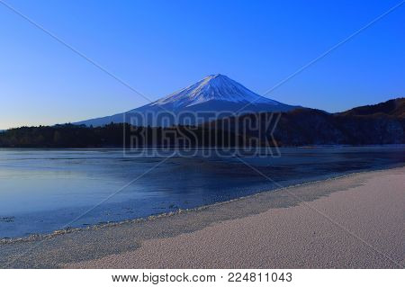 Mt. Fuji Midwinter on the Shore that freezes from Lake Kawaguchi Japan 01/31/2018