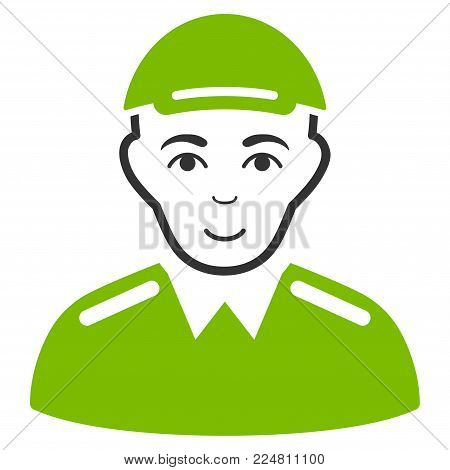Soldier vector flat icon. Human face has joy emotion. A person with a cap.