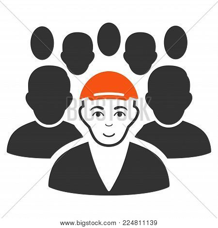 Staff Leader vector flat pictograph. Person face has happy sentiment. A guy wearing a cap.