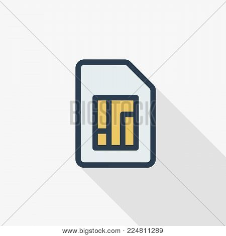 SIM card thin line flat color icon. Linear vector illustration. Pictogram isolated on white background. Colorful long shadow design.