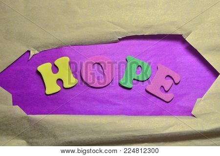 word hope on an   abstract colored backhround