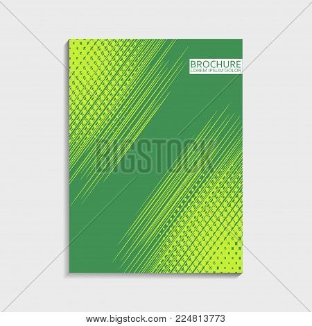 Covers design for brochure with abstract dinamic lines and halftone effect. Modern trendy vector illustration.