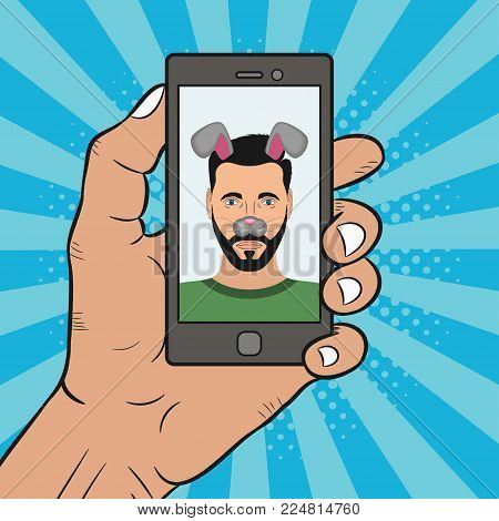Selfie photo male on smartphone with animal face mask elements - ears and nose. Comics illustration in pop art style. Vector.