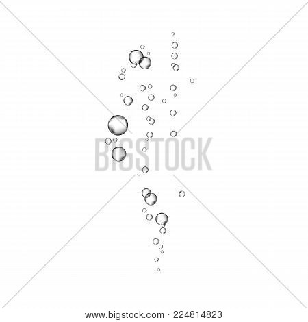 Oxygen Air Bubbles  Stream On White  Background.