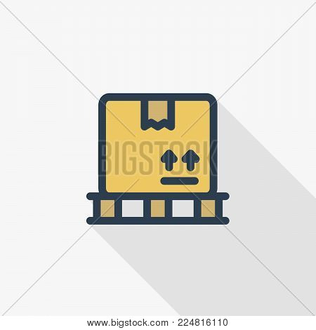 carton box whith packaging tape thin line flat color icon. Linear vector illustration. Pictogram isolated on white background. Colorful long shadow design.