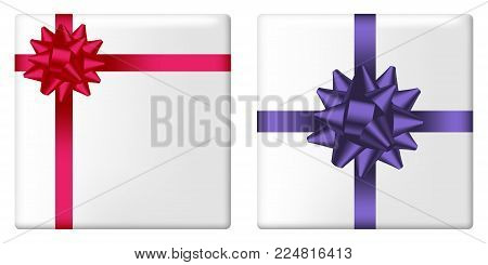 Gift box set with bow and ribbon. Giftbox top view with realistic holiday decorations on package. Vector illustration.