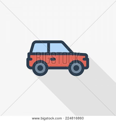 red car, hatchback thin line flat color icon. Linear vector illustration. Pictogram isolated on white background. Colorful long shadow design.