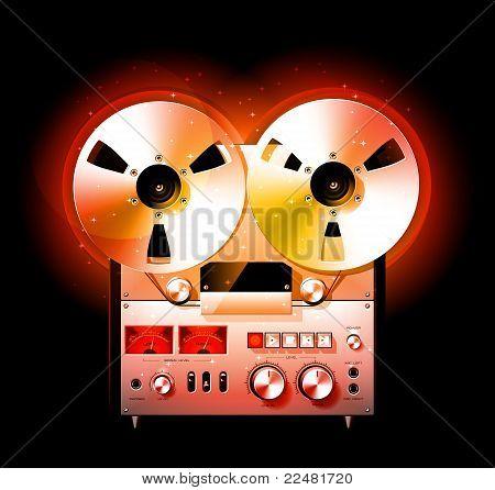 Glowing Reel To Reel Stereo Tape Deck Recorder