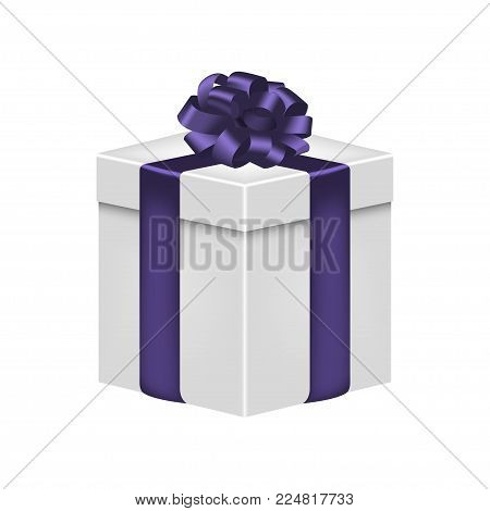 Gift box with ribbon and bow in violet color. Realistic giftbox. Vector illustration.