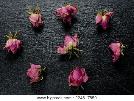 Buds of pink faded dry roses scattered on a black slate background (flat lay, top view)