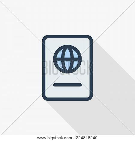Passport, id document thin line flat color icon. Linear vector illustration. Pictogram isolated on white background. Colorful long shadow design.