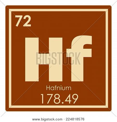 Hafnium chemical element periodic table science symbol