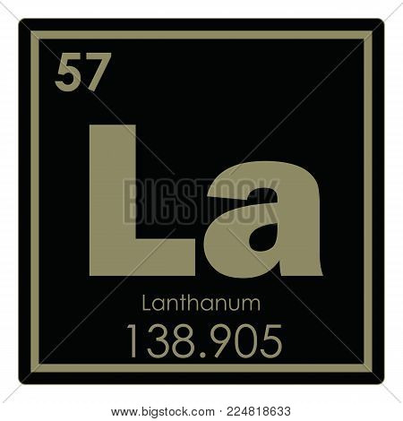 Lanthanum chemical element periodic table science symbol