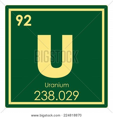 Uranium chemical element periodic table science symbol