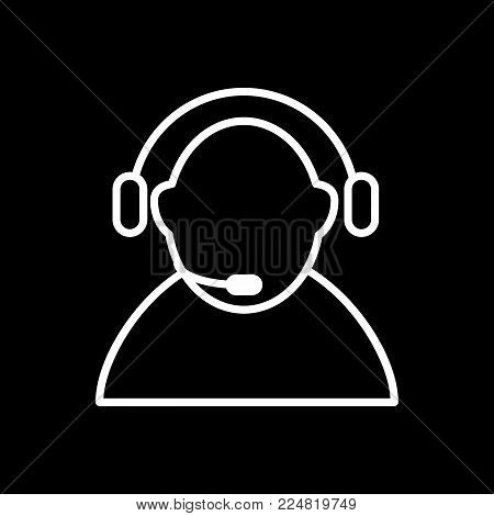 Call center icon vector. Manager of call center, operator, support. Flat linear contour icon isolated on black. Eps 10.
