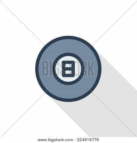 Pool 8 ball, Billiard symbol thin line flat color icon. Linear vector illustration. Pictogram isolated on white background. Colorful long shadow design.