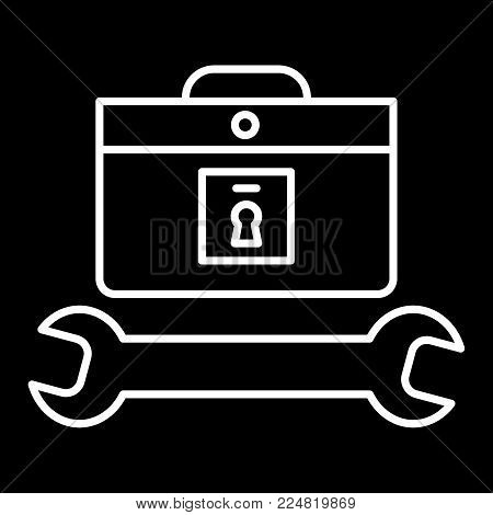 tools case icon. Repairer and master icon. Flat contour vector icon. isolated on black. Eps 10.