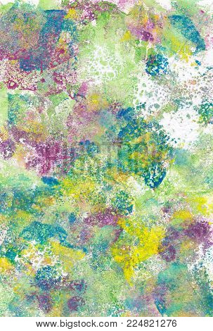 Textured abstract daubs of multicoloured paint on paper background