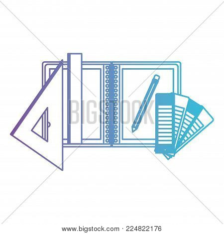 draw notebook ruler pencil school office draw tool vector illustration