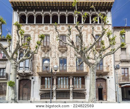 Olot,spain-may 8,2017:architecture,modernist Style Building,casa Sola Morales By Lluis Domenech I Mo