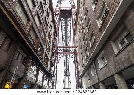 Portugalete,spain-january 10,2017:iron Structure View Between Buildings Of Vizcaya Bridge In Portuga