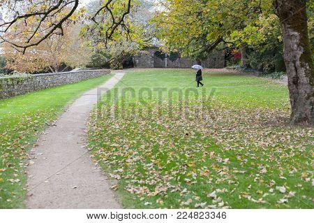 SANTIAGO DE COMPOSTELA,SPAIN-NOVEMBER 22,2017:Park, Parque de San Domingos de Bonaval.Santiago de Compostela, Galicia, Spain.
