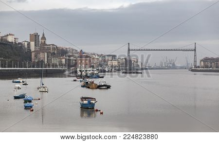 SESTAO,SPAIN-JANUARY 12,2017:Vizcaya bridge and Nervion river view from Sestao,Basque Country,Spain.