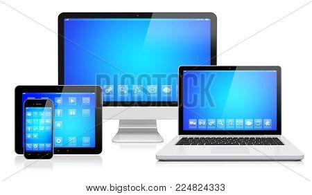 Desktop computer monitor, laptop, tablet pc,  and mobile smartphone with a blue screen and apps. Isolated on a white. 3d image