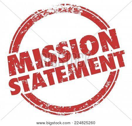 Mission Statement Goal Objective Round Stamp Words Illustration