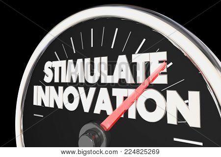 Stimulate Innovation Speedometer New Ideas Innovative Concepts 3d Illustration