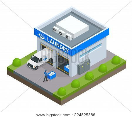 Isometric Facade laundry. Signboard with emblem, awning and symbol in windows. Laundry service with dry cleaning and washing. Flat vector illustration
